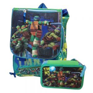 PROMO Zaino estensibile + Astuccio 3 zip completo Ninja Turtles
