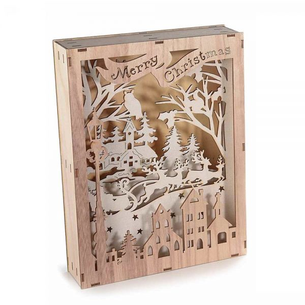 Cornice decorativa in legno intagliato con paesaggio invernale e luci Led