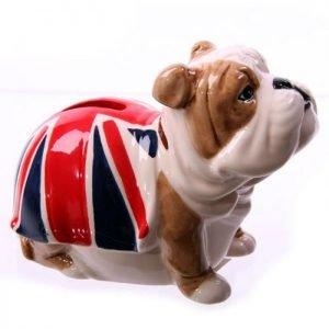 Salvadanaio UK – Bulldog con bandiera inglese